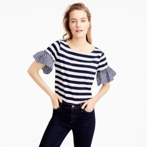 J. CREW Gingham Ruffle Sleeve Striped Top Small
